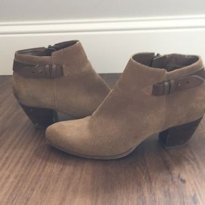 Guess Brown Suede Booties with leather strap!!